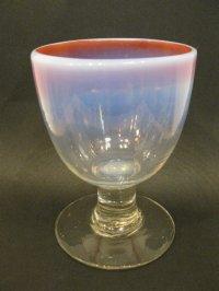 氷コップ◇赤縁◇乳白◇グラデーション◇吹きガラス◇なつめ型