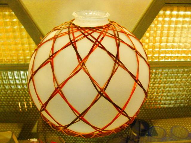 画像2: 照明◇ランプシェード◇ガラス ◇竹飾り◇店舗 ◇オパール◇昭和