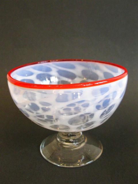 画像3: 氷コップ◇赤縁◇水玉文◇吹きガラス◇椀型