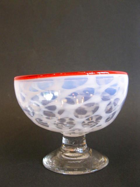 画像1: 氷コップ◇赤縁◇水玉文◇吹きガラス◇椀型