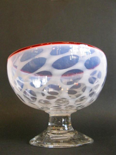画像2: 氷コップ◇赤縁◇水玉文◇吹きガラス◇椀型