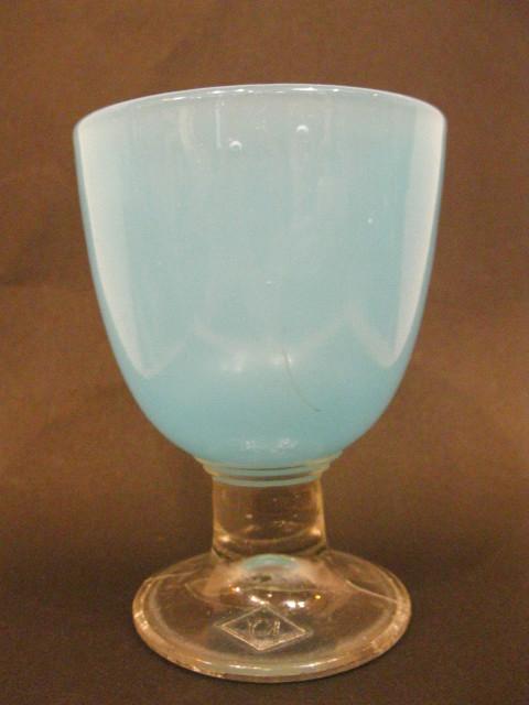 画像1: 氷コップ◇青練り◇ウラン◇プレスガラス◇なつめ型◇KY