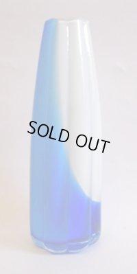 フラワーベース◇花器◇花瓶◇ブルー◇ホワイト◇一輪挿し◇ガラス