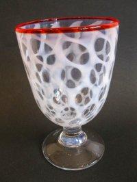 氷コップ◇赤縁◇水玉文◇吹きガラス◇なつめ型
