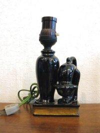 スタンドライト◇黒猫◇陶器製◇レトロ◇アールデコ