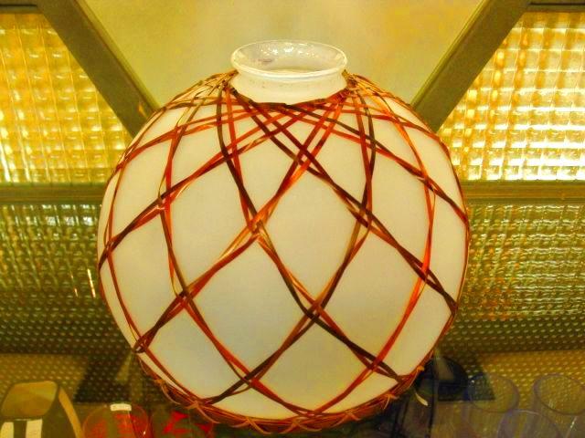 画像1: 照明◇ランプシェード◇ガラス ◇竹飾り◇店舗 ◇オパール◇昭和